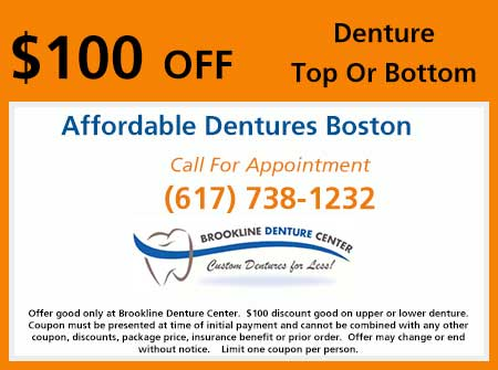Coupon for $100 off Top or Bottom Dentures
